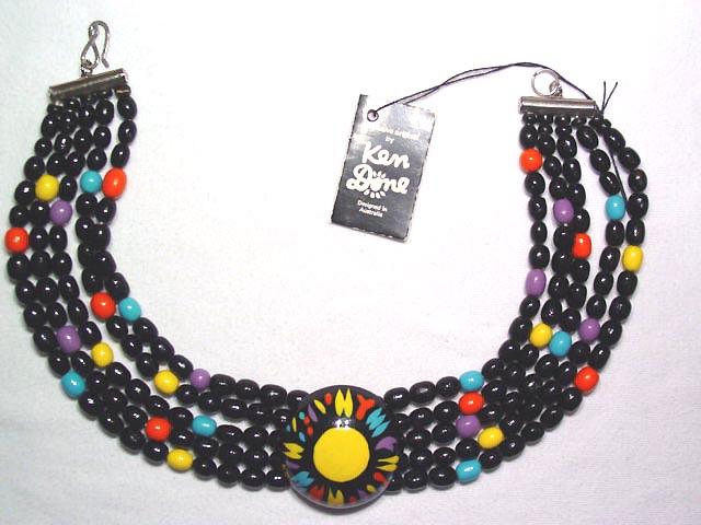 Black Wooden Ken Done Sunburst Necklace