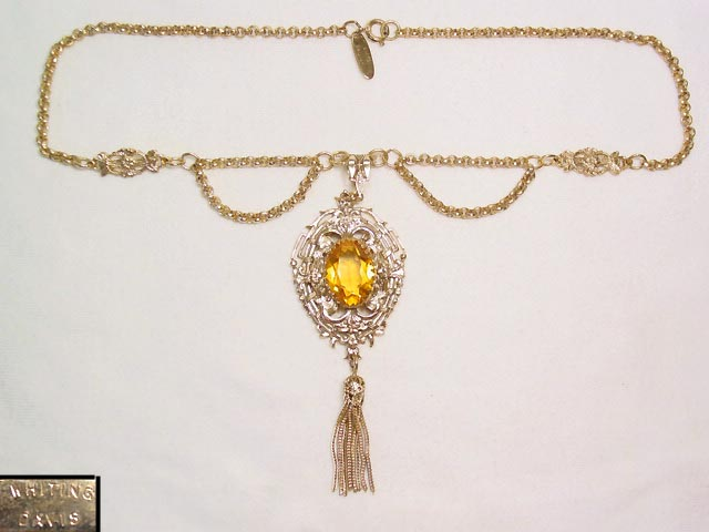 Whiting & Davis Topaz and Filigree Necklace