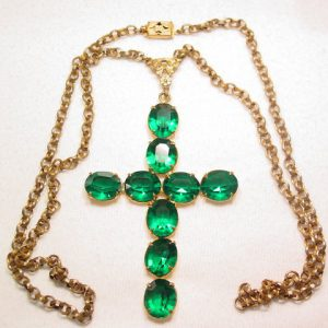Large Green Cross Necklace