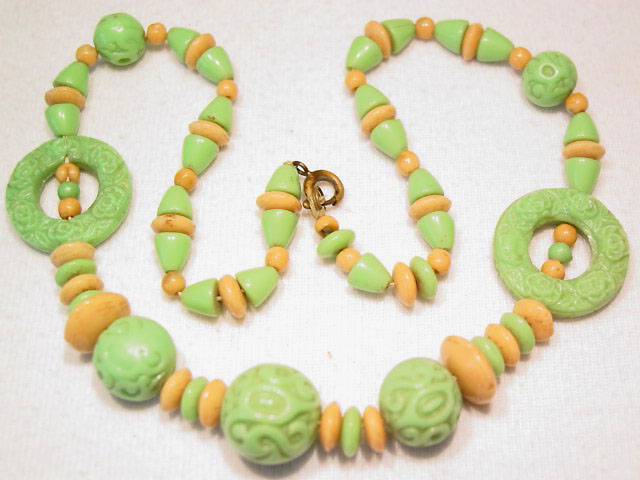 Lime and Tan Molded Glass Necklace