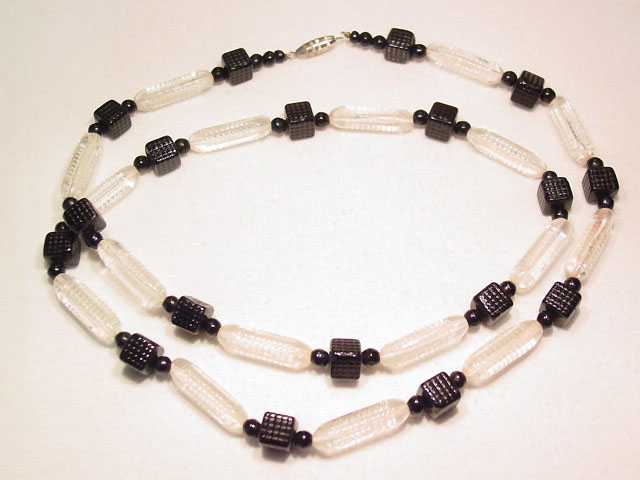 Black Cubes and Clear Cylinders Necklace