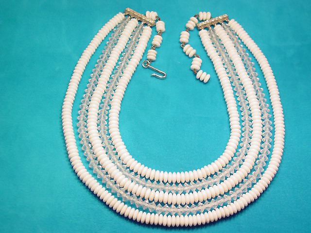 Milk Glass and Crystal Necklace