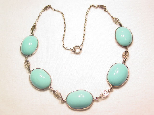 Imitation Turquoise Sterling Necklace