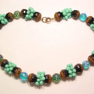 Black and Turquoise Glass Necklace
