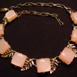 Pink Moonglow Plastic Squares and Leaves Choker