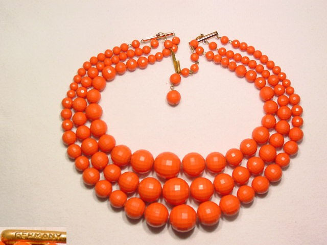 3 Strand Coral Colored Plastic German Necklace