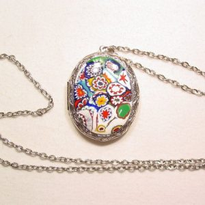 Silvertone Milleflore Locket Necklace