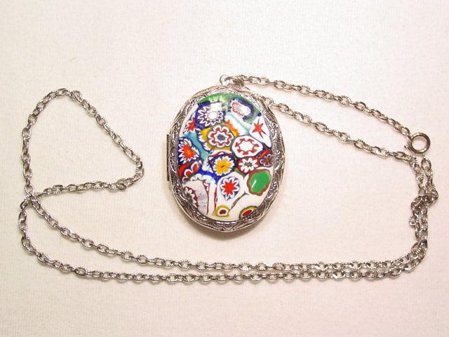 Silvertone Milleflore Locket Necklace