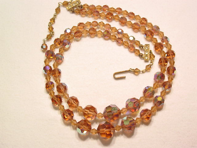Beige Aurora Borealis Necklace