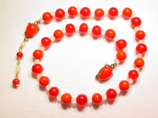 Red Candy Cane Glass Bead Necklace
