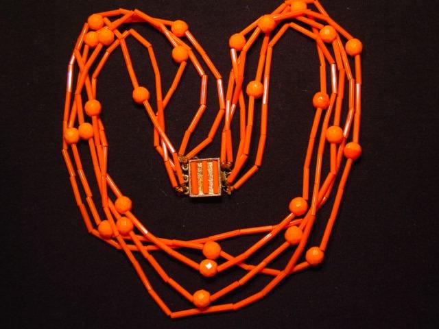 Opaque Orange Glass Bead Necklace