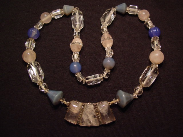 Beautiful Pink, Clear, and Blue Crystal German Sterling Necklace