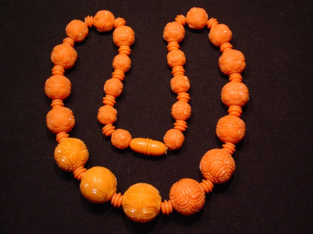 Coral Incised Beaded Necklace