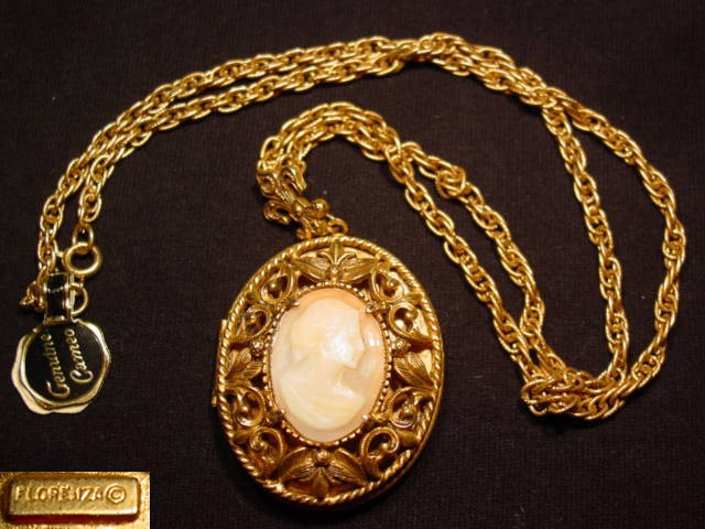 Filigreed Real Shell Cameo Florenza Locket Necklace