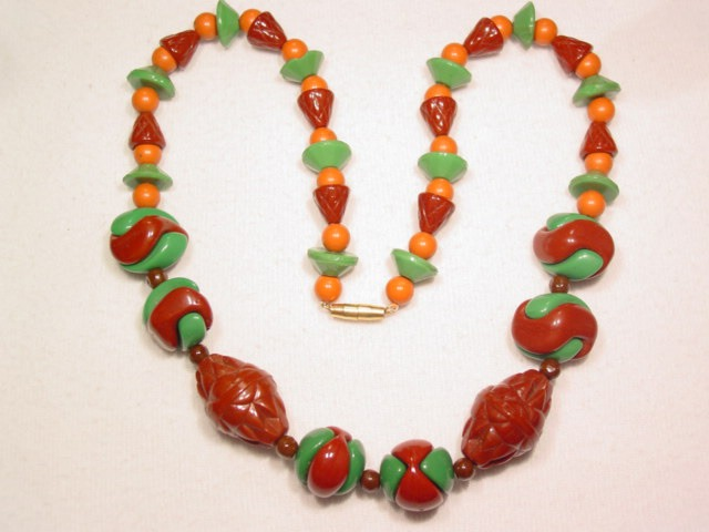 Brown and Green Glass Necklace