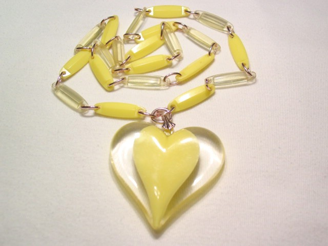 Yellow and Lucite Plastic Heart Necklace