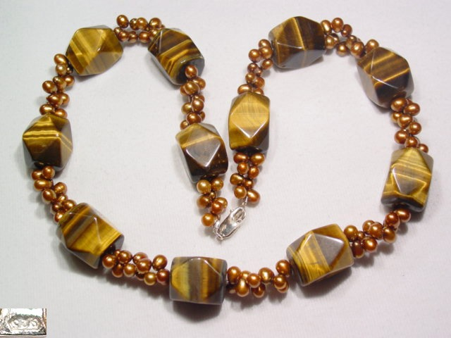 Tiger's Eye and Cultured Pearl Necklace