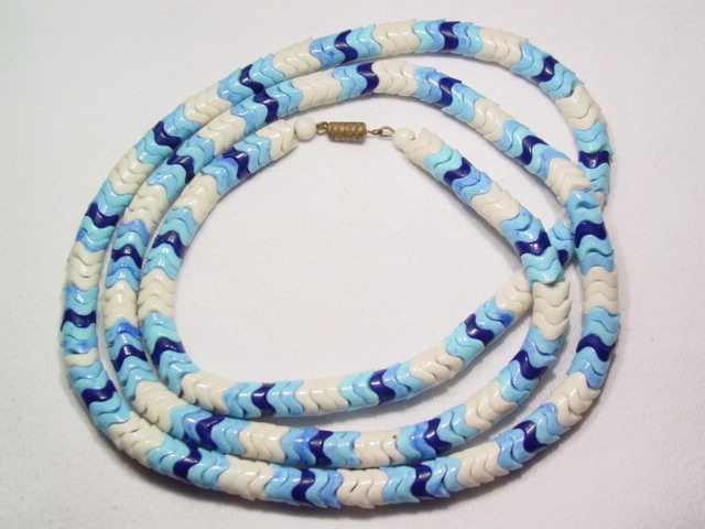 Large Blue and White Glass Unusual Necklace