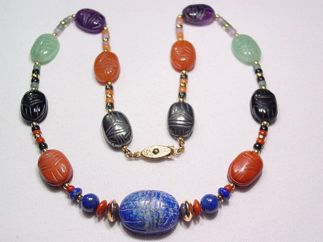 Beautiful Natural Stone Scarab Necklace