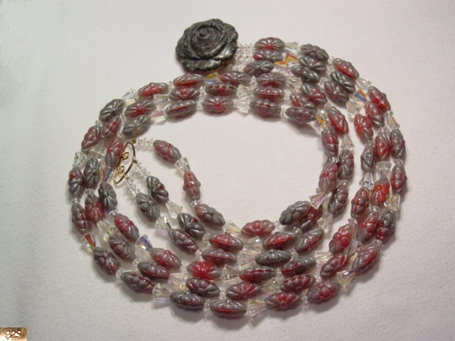 Red, Gray and Crystal Rose Necklace