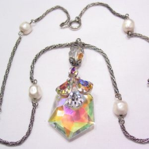 Wonderful Large Aurora Borealis Pendant Necklace