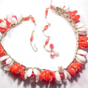 Red and White Iridescent Floral Choker