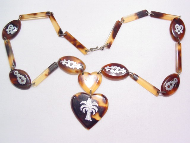 Tortoise Shell with Silver Inlay Necklace