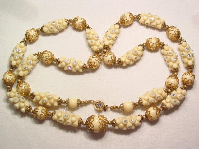 Cream Tri-Bead and Rhinestone Necklace