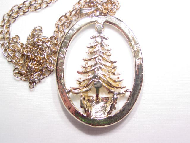 Multi-Color Rhinestone Christmas Tree in Oval Necklace