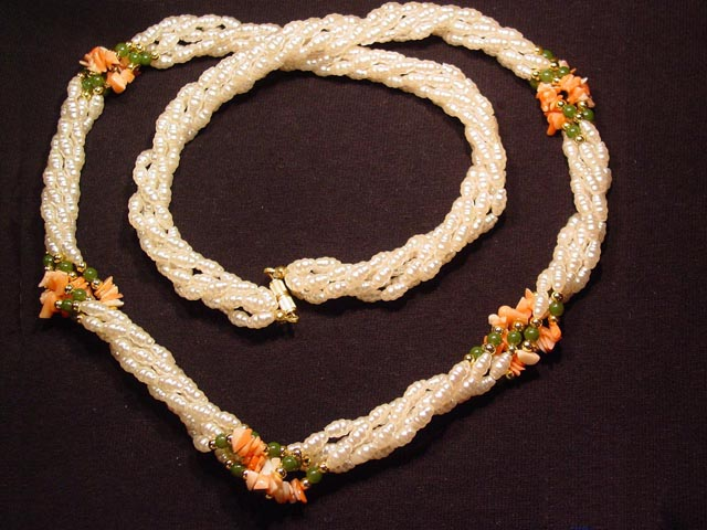 Freshwater Pearls, Jade, and Coral Necklace