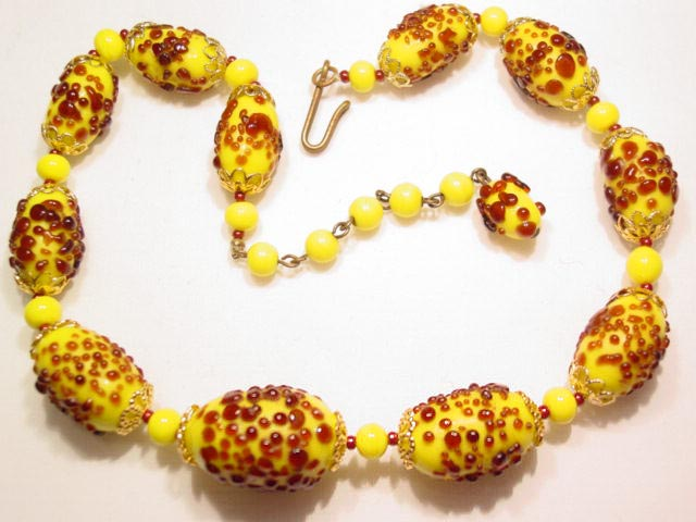 Yellow and Root Beer Glass Necklace