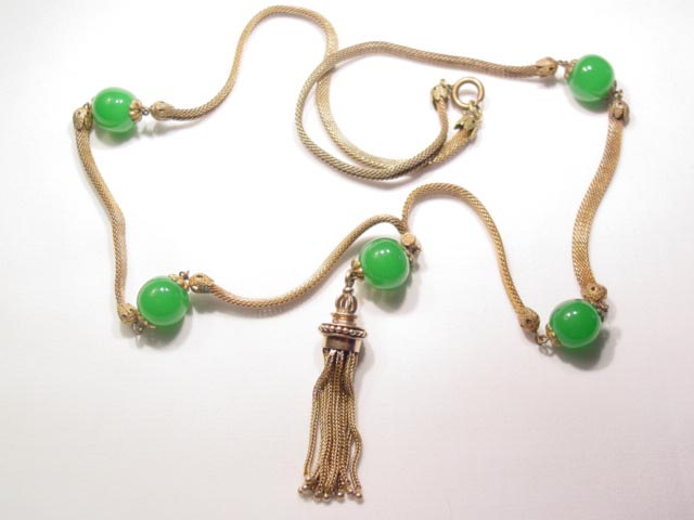 Old Green Glass Bead, Mesh Chain, Tassel Necklace
