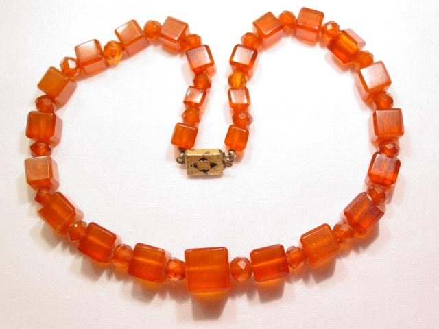 Square-Beaded Amber Necklace