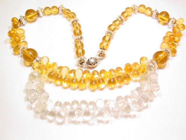 Poured Topaz and Clear Glass Necklace
