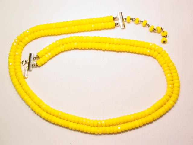 Opaque Yellow Glass Necklace
