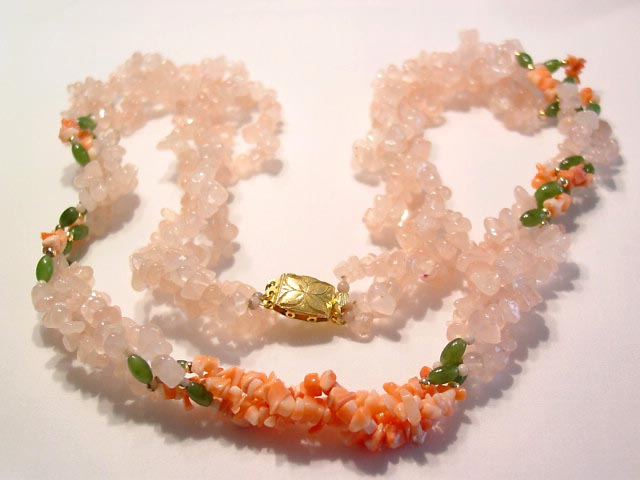 Rose Quartz, Jade and Coral Necklace