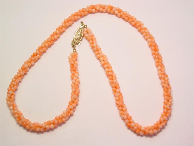 3-Strand Twist Coral Necklace