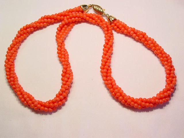 Coral Colored Glass Beads Necklace