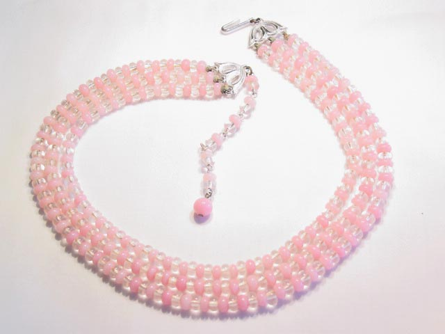 Pink and Clear Glass Japanese Necklace