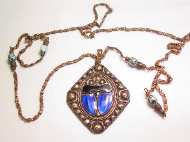Copper-Looking Enamel Scarab Necklace