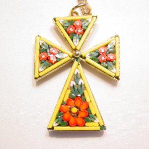 Yellow Mosaic Cross Necklace