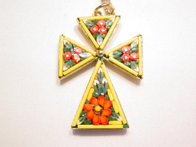 Yellow Mosaic Cross Necklace