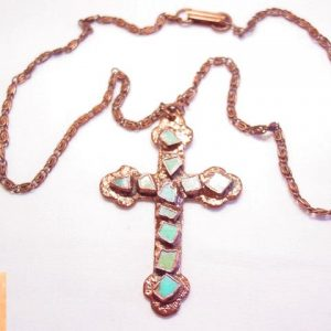 Copper Bell Turquoise and Copper Cross Necklace