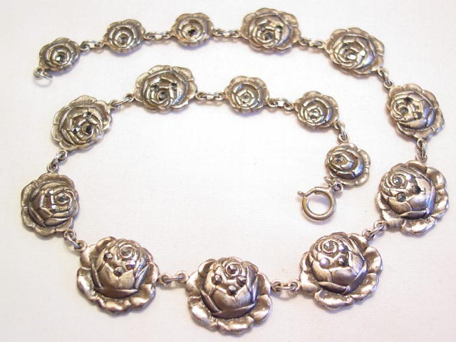Detailed Rose and Marcasite Necklace
