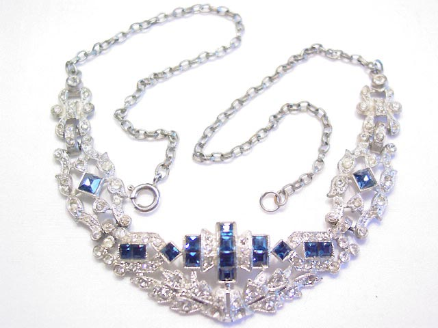Vintage Clear and Sapphire-Blue Rhinestone Pot Metal Necklace