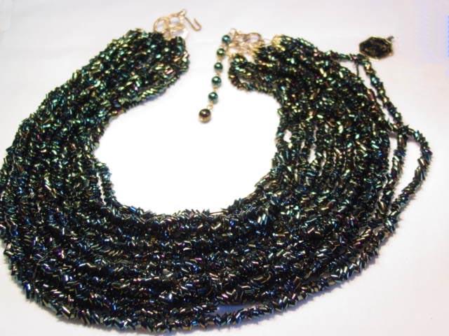 Valjean Black Iridescent Glass Bead Necklace