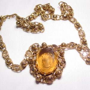 Richelieu Large Smoky Topaz-Colored Intaglio Necklace