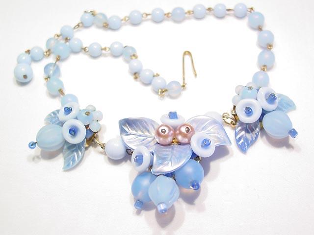 Blue Glass Leafy West German Necklace