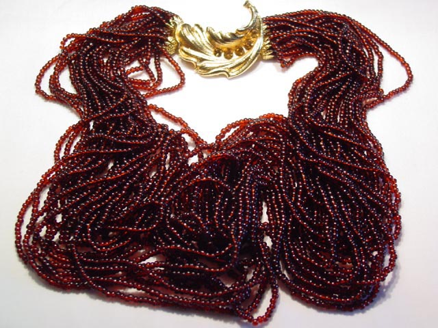 20-Strand Reddish-Brown Glass Bead Necklace