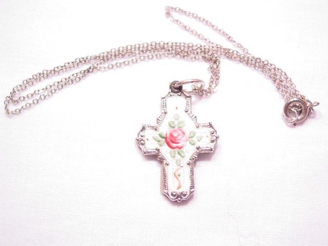 White Enamel Sterling Slide Cross Necklace
